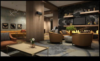 Edison-Walthall mix-used redesign - lobby with fireplace